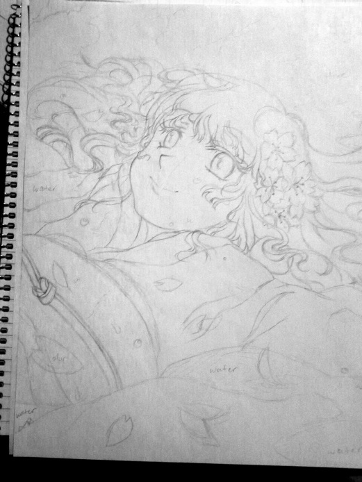 floating sakura sketch rough