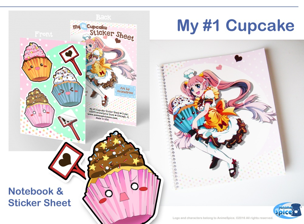My1cupcake notebook and stickers